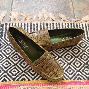 Franco Sarto Green Crocodile Faux Leather Loafers